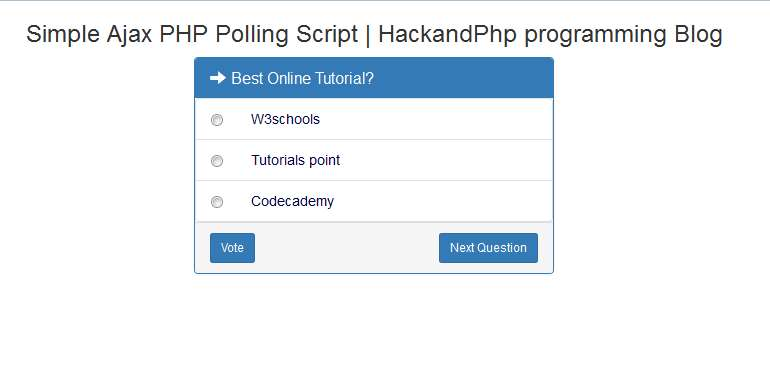 Simple Ajax Polling System With PHP, Mysql, jQuery, Ajax | Hack and Php