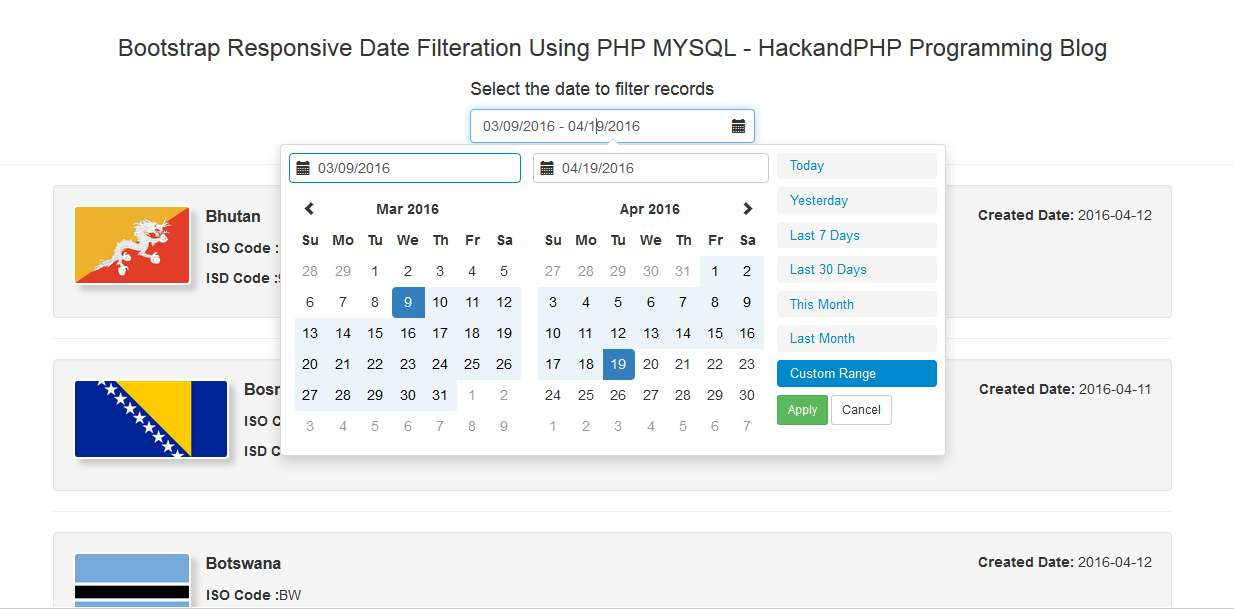 Bootstrap Date range Filtration with PHP Ajax Mysql