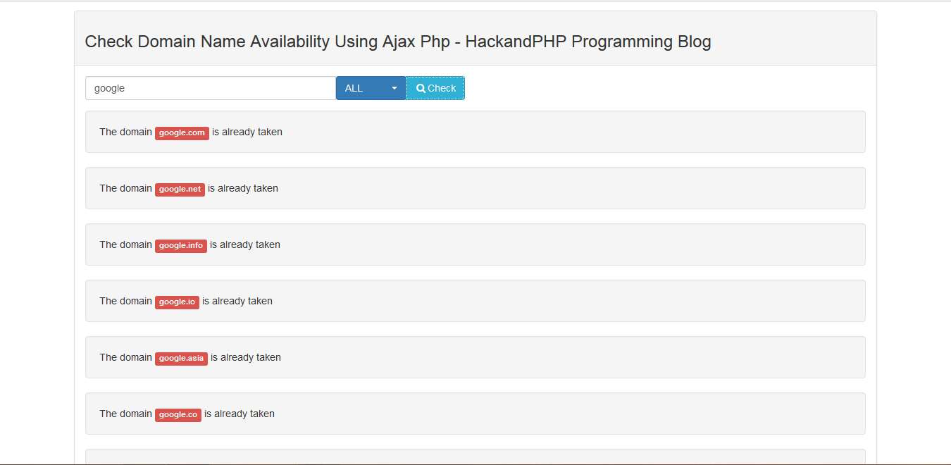 Check Domain Availability HackandPHP