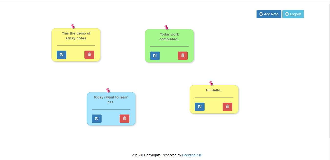 Modern sticky notes using jquery ajax php json bootstrap hack and php sticky notes are useful for the user to track their day to day work and activities this application is bulit on using jquery ajax php json and mysql ccuart Images